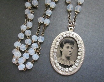 Antique Tintype Necklace Assemblage with rhinestones and glass beads