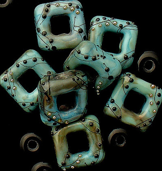 DSG Beads Handmade Organic Lampwork Glass - Made To Order (Copper Green Squares)