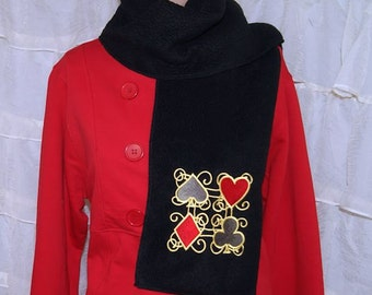 Lady Luck Card Suits Embroidered Black Fleece Scarf MTCoffinz
