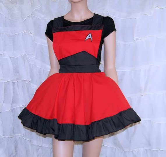 Red StarFleet Command Insignia Pinafore Apron Costume Skirt Adult ALL Sizes - MTCoffinz