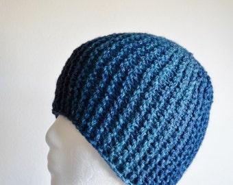 Night Sky - Hand Knit Hat for Women, Traditional Beanie Fit, Garter Stitch, Textured, Sparkle, Stars, Dark Blue, Shades of Blue, women's hat