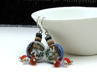 Blue Orange Mermaid Boho Dangle Earrings, Eclectic Colorful  Mermaid Drop Earrings, for Her Under 60, One of a Kind, US Free Shipping