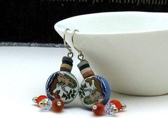 Blue  Orange  Mermaid  Boho  Dangle  Earrings, Eclectic Colorful  Mermaid Drop Earrings, for Her Under 60