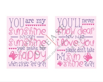 "Two printables, ""You are my Sunshine"" 11x14 prints.  Instant download, wall decor"