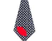Valentine's Day Tie//Choose Lips Or A Heart//Fabric Iron On Applique