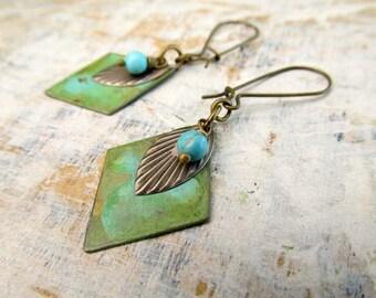 handmade dangle earrings bohemian earrings verdigris Patina geometric earrings boho jewelry