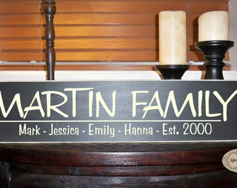 Personalized Family Name & Established Date hand painted wood sign with vinyl lettering - Style FA17