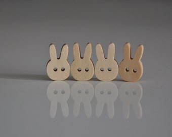 12pcs+ Zakka Bunny Wooden Buttons