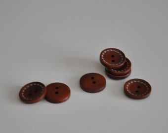 42pcs 20mm Zakka Stitch Round Wooden Buttons