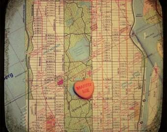 Map art print - marry me Central Park New York City Manhattan - candy heart custom engagement wedding anniversary gift wall decor