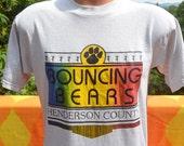 vintage 80s tee hendersonville BOUNCING BEARS jump rope rainbow recreation t-shirt Medium north carolina wnc
