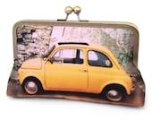 Clutch bag, yellow car, silk purse, YELLOW FIAT CAR