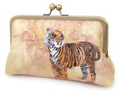 Tiger clutch bag, silk purse, safari, big cat, orange yellow, ON SALE