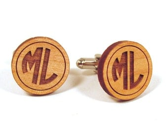 Monogrammed Wooden Cuff Links - Custom Personalized Cuff Links