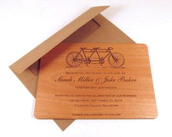 Tandem Bike Wooden Wedding Invitation - Tandem Bicycle Invitation