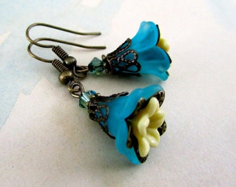 Victorian Jewelry, Blue Dangle Earrings, Antiqued Gold, Teen Jewelry
