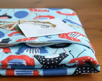 Baby Blanket SALE; Organic Receiving Blanket Gift; Gender Neutral, Blue and Red Chicken Newborn Blanket for Baby Boy and Girl; CLUCK CLUCK