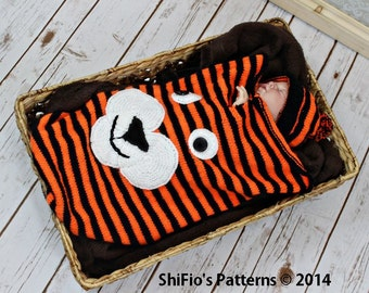 KNITTING PATTERN For Baby Tiger Cocoon, Papoose & Hat  in 3 Sizes PDF 270 Digital Download