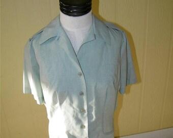 Vintage Green Army Dress Blouse ladies Shirtwaist Size 16L Short Sleeve 9157