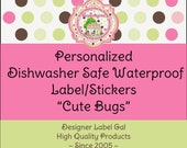 Personalized Childrens Waterproof ID DayCare Labels - Cute Bugs