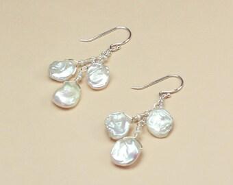 Keshi Pearl Earrings, Beach Wedding Jewelry, Beachy Bridal, Bridesmaid Earrings, Beach Wedding Earrings, White Keshi Pearl, Silver or Gold