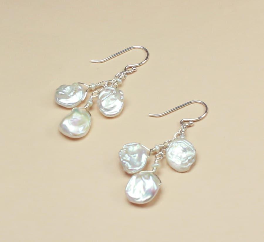 Keshi Pearl Necklace: Keshi Pearl Earrings Beach Wedding Jewelry Beachy Bridal