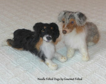 Needle Felted Animal / Miniature Dog / Custom Pet Portrait Handmade Gift / example  Australian Shepherd