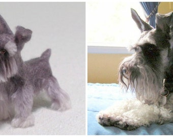 Custom Pet Portrait / Your DOG in Miniature / Cute / Handmade Poseable Art Sculpture Personalized gift / example Schnauzer uncut ears