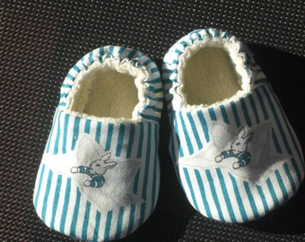 Baby Slippers, Goodnight Moon fabric, Pin stripe, Bunny, Blue, Gender neutral, Eco-Friendly