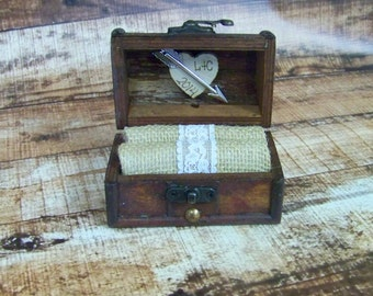 Burlap Wedding Ring Box with Wooden Heart, Wooden Ring Box, Rustic Engagement Ring Box