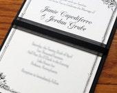 Vintage Black Tie French Invitation Set, Paris wedding, custom invitations, Vogue wedding, Downton Abbey wedding,Etsy Weddings