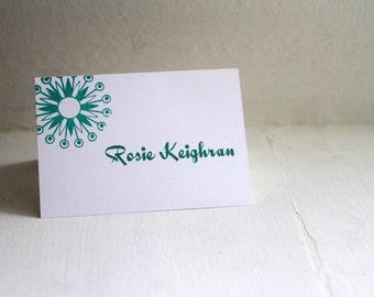 Atomic Star Hand-Stamped Escort Cards, Place Cards, Seating Cards, Modern Wedding - Deposit