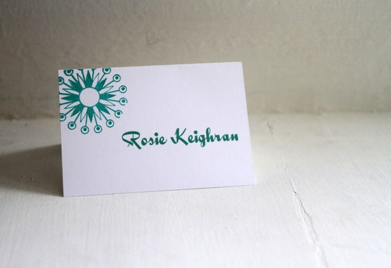 Atomic Star Hand-Stamped Escort Cards, Place Cards, Seating Cards, Modern Wedding - Deposit