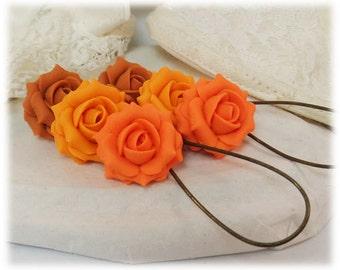 Orange Rose Dangle Earrings - Orange Rose Drop Earrings, Orange Flower Earrings