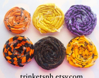 Rolled Fabric Flower Rosettes Set of Six