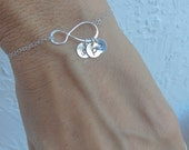 Infinity Bracelet, Mothers Bracelet, Family Initials, Mothers Gift Jewelry, Personalized Infinity Bracelet, Up to FOUR initials,Hand Stamped
