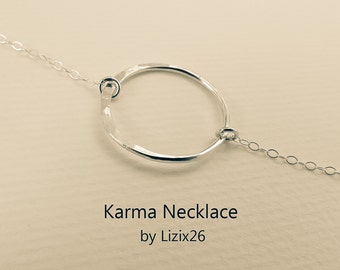 Sterling Silver Circle Necklace, Minimal Eternity Necklace, Eternity Circle of Life Jewelry Gift, Mother Necklace,Meaningful Zen Necklace
