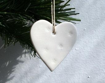 White Porcelain Heart Decoration