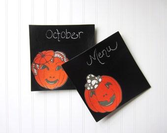 Vintage Jack-O-Lantern Halloween Decoration Chalk Board