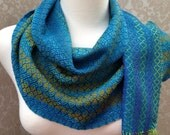 Turquoise to Avocado Green Striped with Cobalt Blue Handwoven Scarf DBJ31