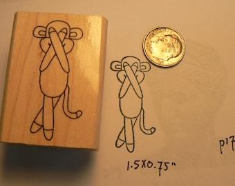 Sock monkey peekaboo rubber stamp WM P17