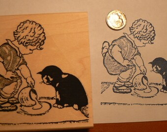 Vintage girl with kitten and milk rubber stamp P9