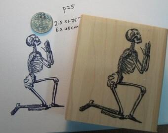 Praying skeleton rubber stamp WM P19