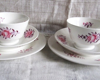 SALE Antique Pink Rose 1800's, Rare Victorian Hand Painted Pink Rose Tea Cups, Saucers And Dessert Plates Was 39.99 Now 35.99