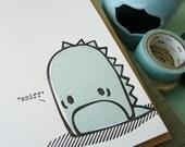Sad Monster Letterpress Note Card 1pc