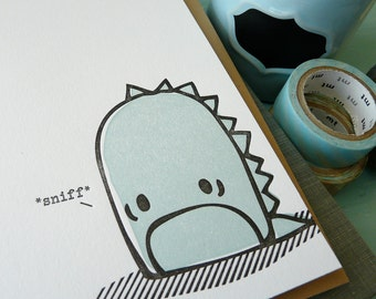 Sad Monster Letterpress Note Card 1pc