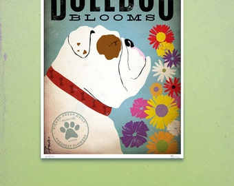 English Bulldog Flower company original graphic illustration giclee archival signed artists print by Stephen Fowler