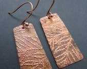 Hand cut, hammered rectangle copper with copper embossed leaf design earring
