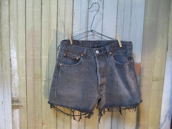 Vintage Black denim 501 Levis  Cutoffs Cut Off Shorts worn faded Made in USA  jeans 32
