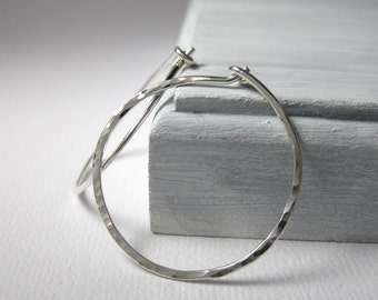 Sterling Silver Hoops 1 inch Hammered Hoop Earrings 18 gauge Simple Minimalist Hoop Earrings